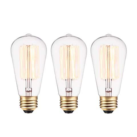 40W Vintage Edison S60 Incandescent Filament Light Bulb (3-Pack)