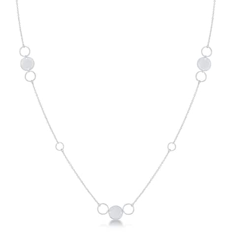 La Preciosa Sterling Silver or Gold Plated Italian Alternating Polished & Open Disc 36'' Necklace