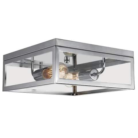 "Memphis 2-Light Flush Mount Ceiling Light, 4 Clear Glass Panes - 13"" L x 13"" W x 5.12"" H"