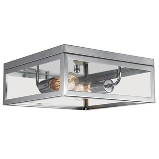 Memphis 2-Light Flush Mount Ceiling Light, 4 Clear Glass Panes