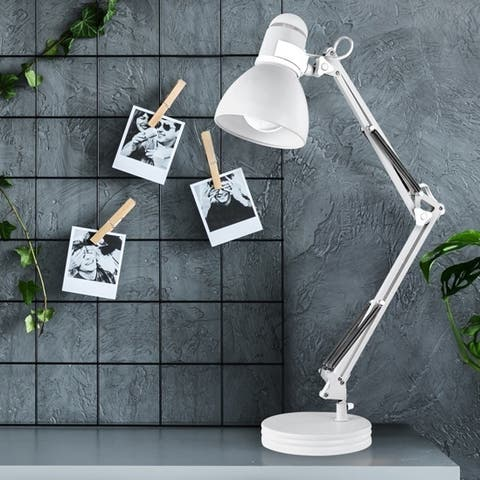 Porch & Den Arrington Matte White 28-inch Swing Arm Desk Lamp