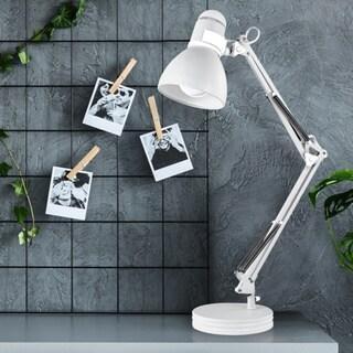 Porch & Den Arrington Matte White 28-inch Swing Arm Desk Lamp. Opens flyout.