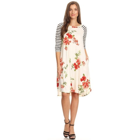 Women's Casual Floral Print Striped Sleeve Dress