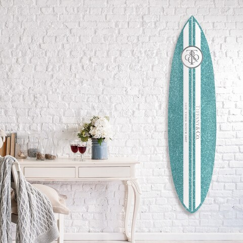 Oliver Gal 'Jewelry Surfboard' Acrylic Art - Blue