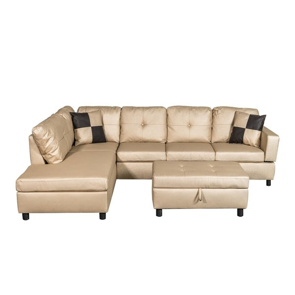 Ordinaire Faux Leather Sectional Sofa Set With Free Storage Ottoman