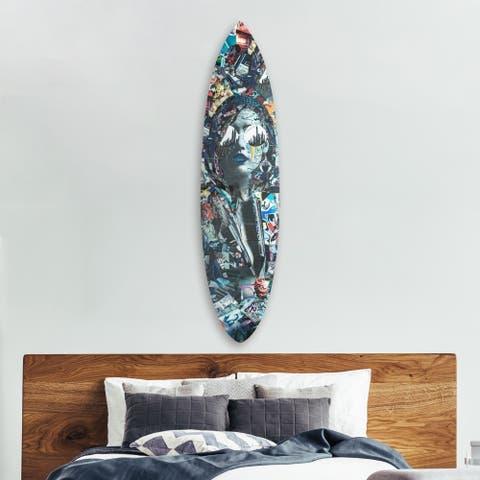 Oliver Gal 'Katy Hirchsfeld - City` Surfboard' Acrylic Art - Blue