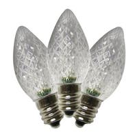 Holiday Bright Lights  LED C7  Faceted  Christmas Light Bulbs  Pure White  2 in. 25 pk