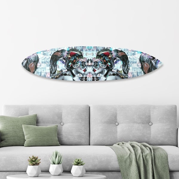Oliver Gal 'Katy Hirchsfeld` - Aphrodite Surfboard' Acrylic Art - Blue
