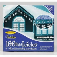 Celebrations  Incandescent  Snowflake  Icicle Light Set  Clear  3 ft. 100 lights