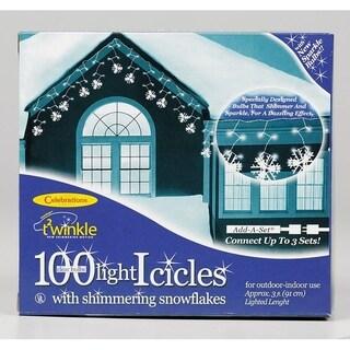 Celebrations Incandescent Snowflake Icicle Light Set Clear 3 ft. 100 lights