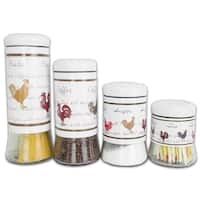 Country 4 Piece Glass Canister Set