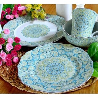 Lyria Teal 16 Piece Dinnerware Set