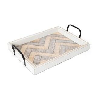 Elements 19-Inch White Wash Wavy Wood Tray
