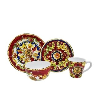 Oberon Red 16 Piece Dinnerware Set