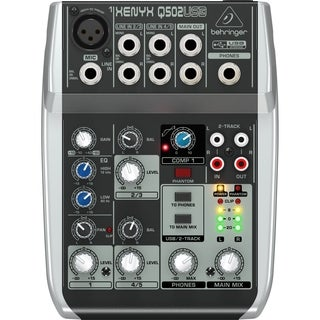 Behringer Q502USB 5-Input 2-Bus USB Audio Interface Mixer w/ XENYX Mic Preamps British EQ, Compressors and Multi-FX