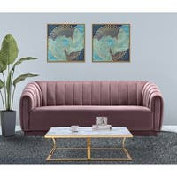 Chic Home Warhol Velvet Upholstered Vertical Channel-Quilted Sofa