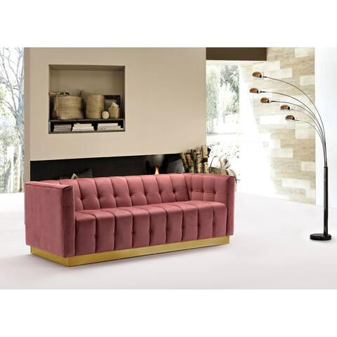 Chic Home Aviv Velvet Upholstered Channel-Quilted Sofa