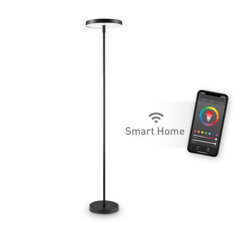 Smart Black LED Integrated Dimmable Torchiere Floor Lamp