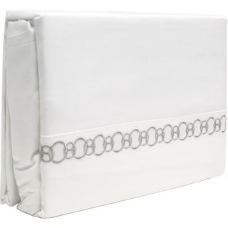 300 Thread Count Cotton Sheet Set Twin White-Grey Chain Embroidery