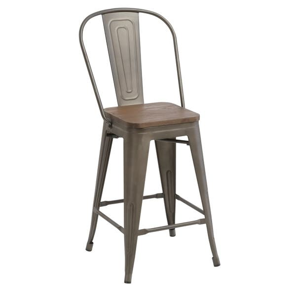 Peachy Shop Antique Distressed Rustic Wood 24 High Back Chair Bar Gamerscity Chair Design For Home Gamerscityorg