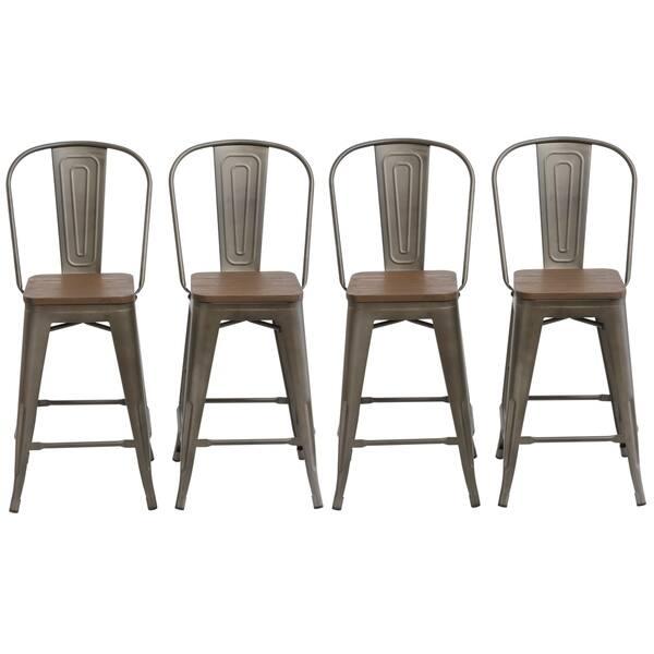Strange Shop Antique Distressed Rustic Wood 24 High Back Chair Bar Dailytribune Chair Design For Home Dailytribuneorg
