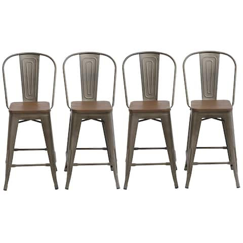 "Antique Distressed Rustic Wood 24"" High Back Chair Bar Stool Set of 4 Barstool"