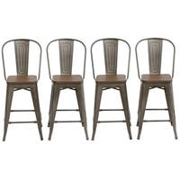 "Antique Distressed Rustic Wood  24"" High Back Chair Bar Stool Set of 4 Barstool - N/A"