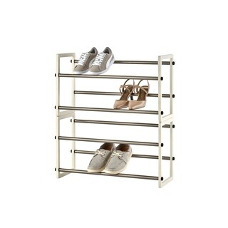 "TRINITY Basics 2-Tier 24""-44"" Expandable Shoe Rack - White (2-Pack)"