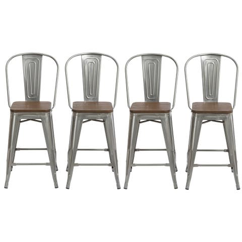 "Antique Distressed Steel Wood 24"" High Back Chair Bar Stool Set of 4 Barstools"