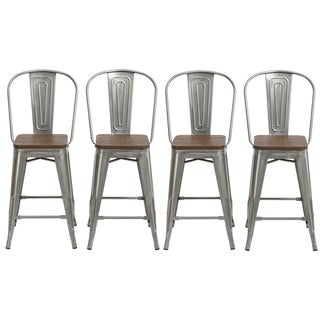 """Link to Antique Distressed Steel Wood  24"""" High Back Chair Bar Stool Set of 4 Barstools Similar Items in Dining Room & Bar Furniture"""