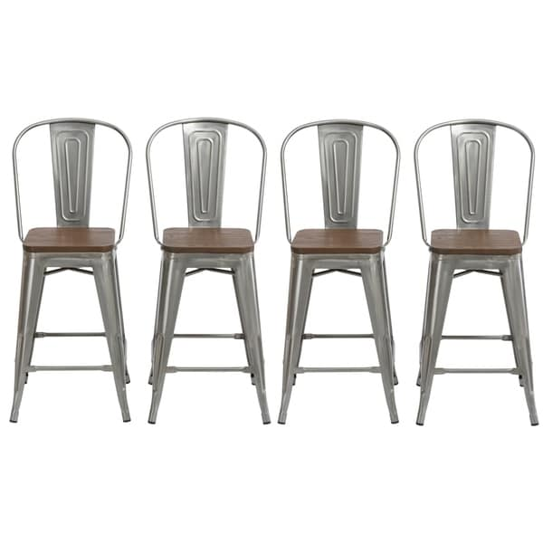 Shop Antique Distressed Steel Wood 24 High Back Chair Bar Stool Set