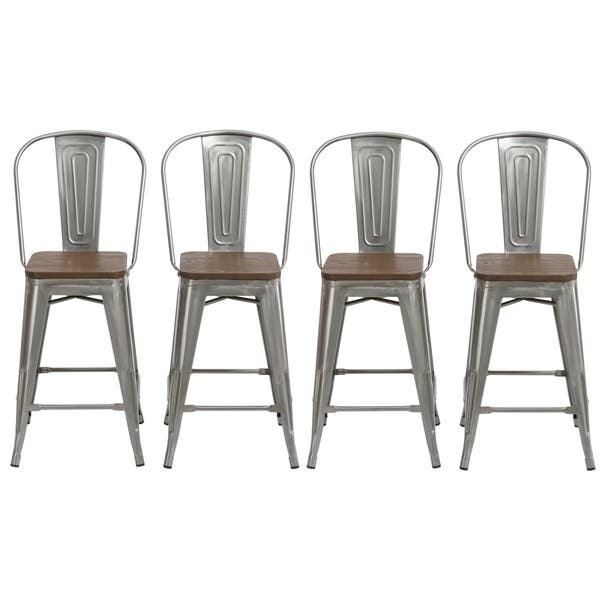 Sensational Shop Antique Distressed Steel Wood 24 High Back Chair Bar Gamerscity Chair Design For Home Gamerscityorg