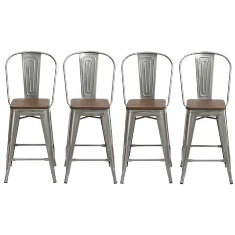 """Antique Distressed Steel Wood 24"""" High Back Chair Bar Stool Set of 4 Barstools"""