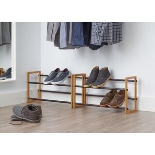 "TRINITY Basics 2-Tier 24""-44"" Expandable Shoe Rack - Bamboo (2-Pack)"
