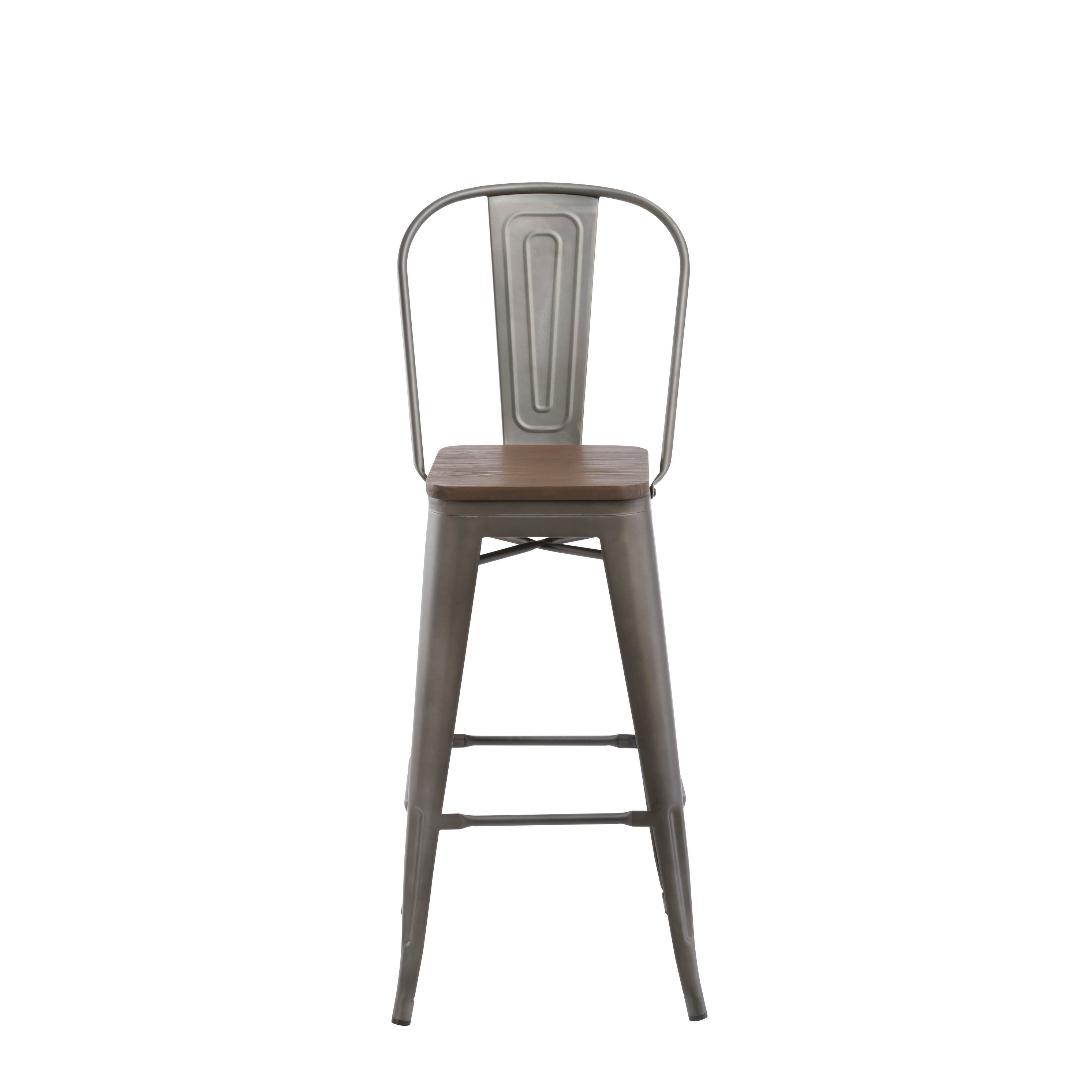 Awesome Antique Bronze Distressed Rustic Wood 30 High Back Chair Bar Stools Pdpeps Interior Chair Design Pdpepsorg