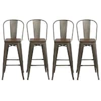 """Antique Bronze Distressed Rustic Wood  30"""" High Back Chair Bar Stool Set of 4 Barstools"""