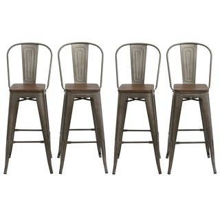 "Antique Bronze Distressed Rustic Wood 30"" High Back Chair Bar Stool Set of 4 Barstools"