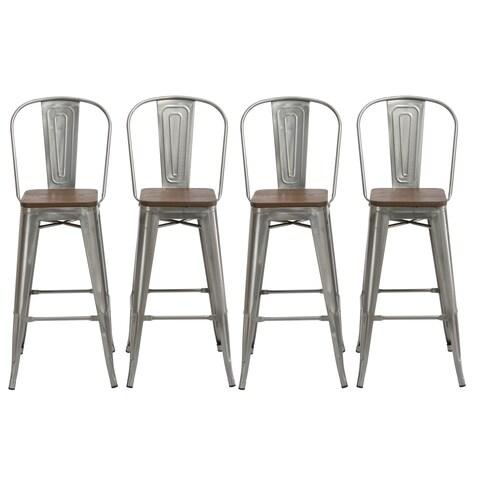 "Antique Distressed Gunmetal Steel Wood 30"" High Back Chair Bar Stool Set of 4 Barstools - N/A"