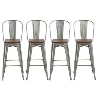 set of 4 bar stools. Antique Distressed Gunmetal Steel Wood 30\ Set Of 4 Bar Stools O