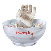 Gemmy  Animated Mummy Hand Candy Bowl  Lighted Halloween Decoration  10-9/16 in. H x 9-7/8 in. W x 9-7/8 in. L