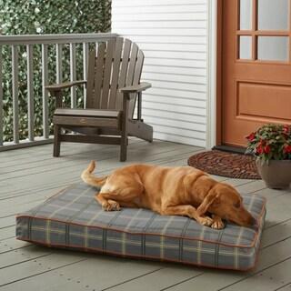 Sunbrella Grey Tartan Plaid w/ Rust Orange FoamPet Bed