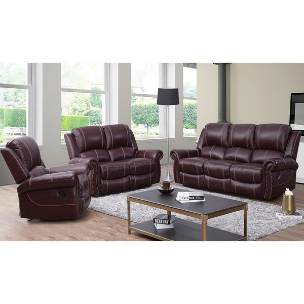 Shop Abbyson Winston Burgundy Top Grain Leather Reclining 3 Piece Living Room Set On Sale