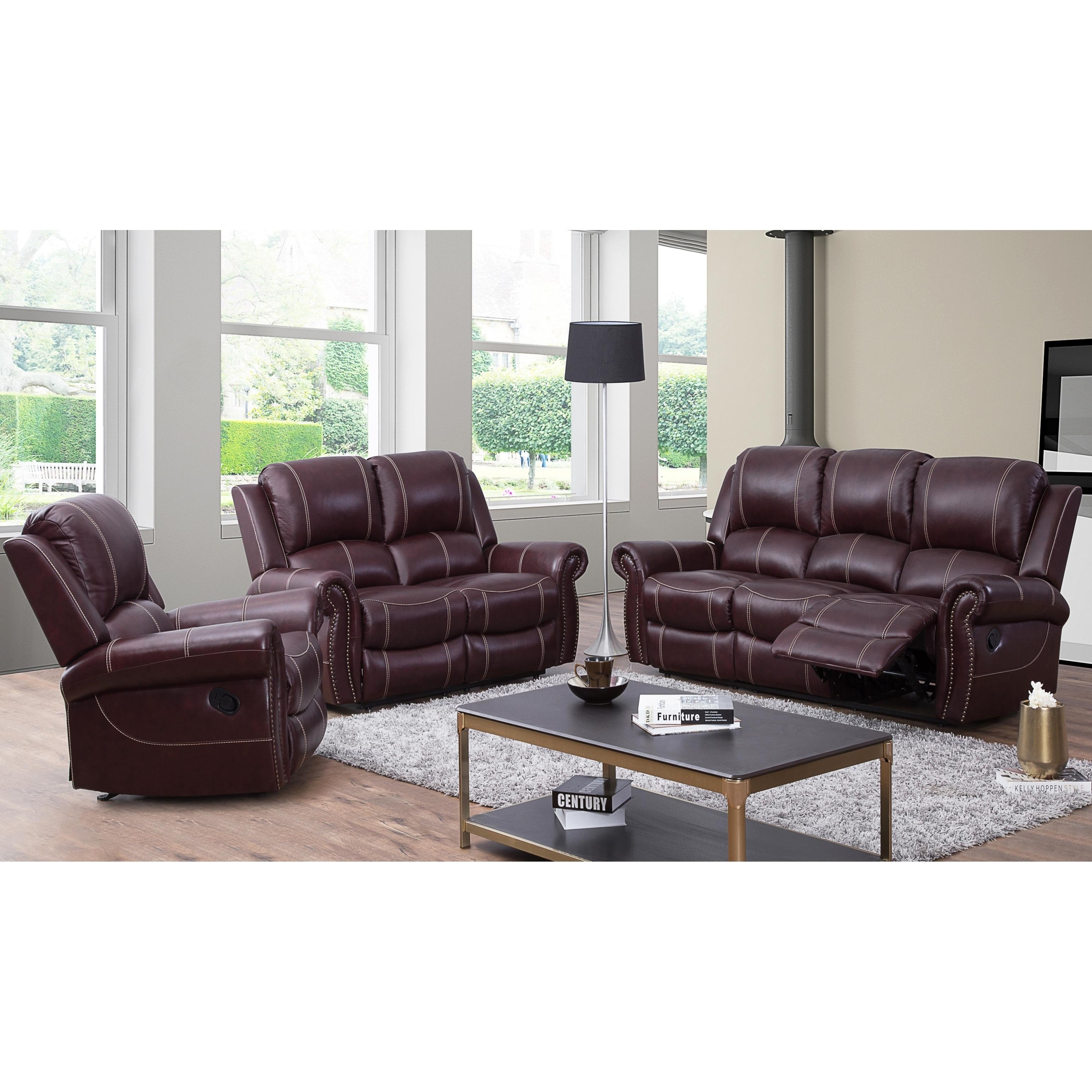 Abbyson Winston Burgundy Top Grain Leather Reclining 3 Piece Living Room Set
