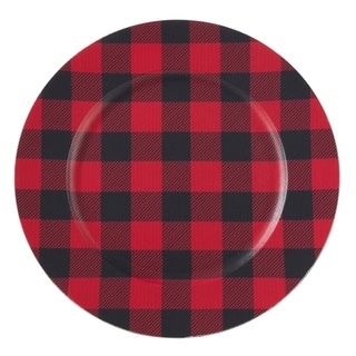 Table Chargers With Buffalo Plaid Design (Set of 4)