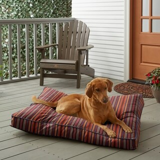 Sunbrella Red Multi Stripe w/ Indigo Blue Fiber Pet Bed