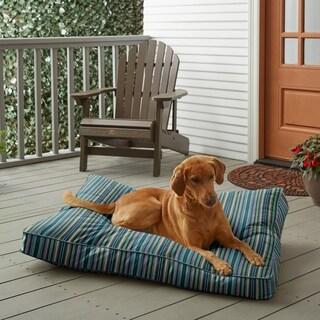 Sunbrella Blue Multi Stripe w/ Sea Green Fiber Pet Bed