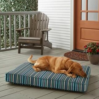 Sunbrella Blue Multi Stripe w/ Sea Green FoamPet Bed