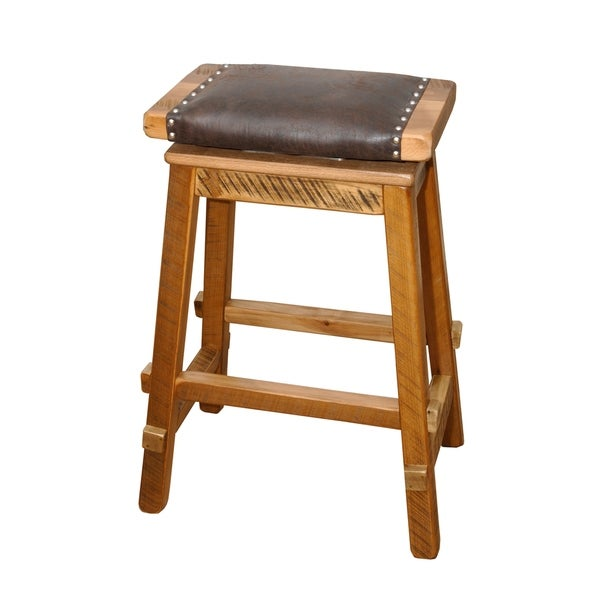 Shop Swivel Saddle Stool In Rustic Reclaimed Barnwood With