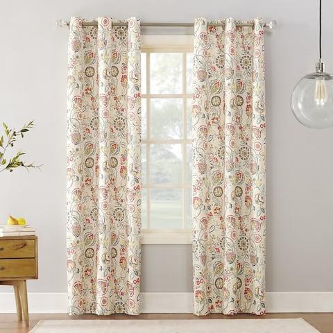 Sun Zero Jorah Botanical Print Thermal Insulated Grommet Curtain Panel