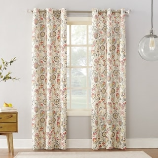 Link to Sun Zero Jorah Botanical Print Thermal Insulated Grommet Curtain Panel Similar Items in Curtains & Drapes